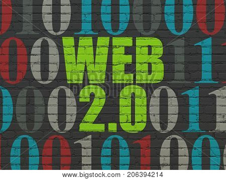 Web development concept: Painted green text Web 2.0 on Black Brick wall background with Binary Code