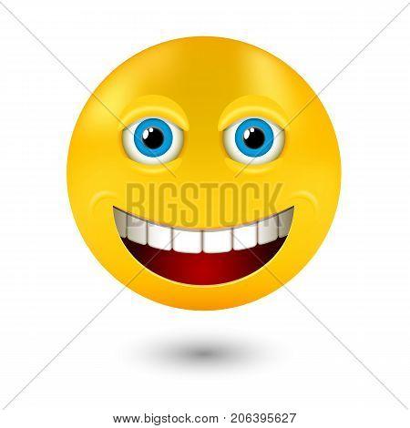yellow realistic smiley emoticons emoji, vector illustration