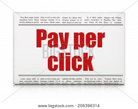 Marketing concept: newspaper headline Pay Per Click on White background, 3D rendering