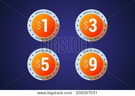Special price medals for special offers, sales and promotions. 1, 3, 5 and 9 dollars. Vector isolated badges in colorful gradient style