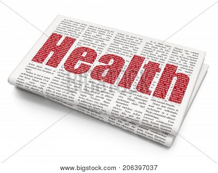 Healthcare concept: Pixelated red text Health on Newspaper background, 3D rendering
