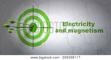 Success Science concept: arrows hitting the center of target, Green Electricity And Magnetism on wall background, 3D rendering