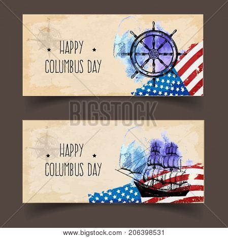 happy columbus day. Handmade vector illustration. A ready template for banners or flyers in grunge style. The perfect solution for your congratulations