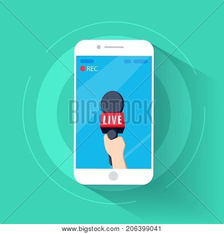 news TV cell phone and live in mobile phone with camera frame. rec and record cartoon. hand and mic vector. Journalism on isolated focus concept and creative Microphone and one journalist flat design