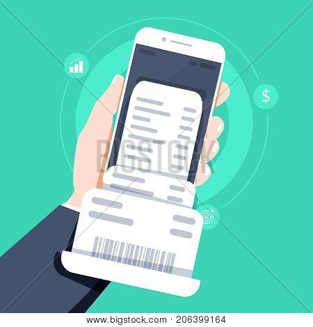 Hand holding smartphone with invoice bill paper flat style mobile phone with invoice bill paper concept of online payment finance tax Vector illustration. Flat design.