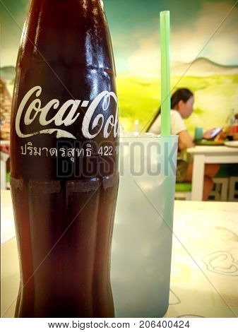 BANGKOK THAILAND - AUGUST 05: Coca-Cola bottle with Thai text translated to