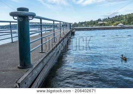 A view of a pier at Gene Coulon Park in Renton Washington.
