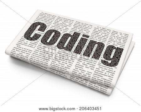 Programming concept: Pixelated black text Coding on Newspaper background, 3D rendering