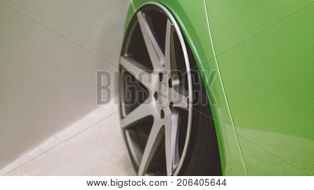 Stance Wheels Close-up For Sport Cars.  Stance Cultyre On The Car Events