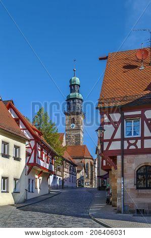 Street in Lauf an der Pegnitz historic center Germany