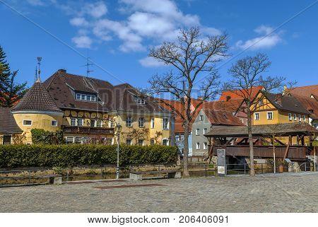 Embankment of Vils river in Amberg city Germany
