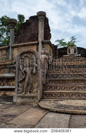 Close-up of guardstone in Vatadage temple. Polonnaruwa, Sri Lanka