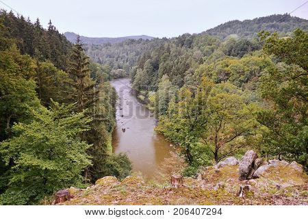 View To Ohre River With Stones Between Forests Near Kyselka Village At Beginning Of Autumn In West B