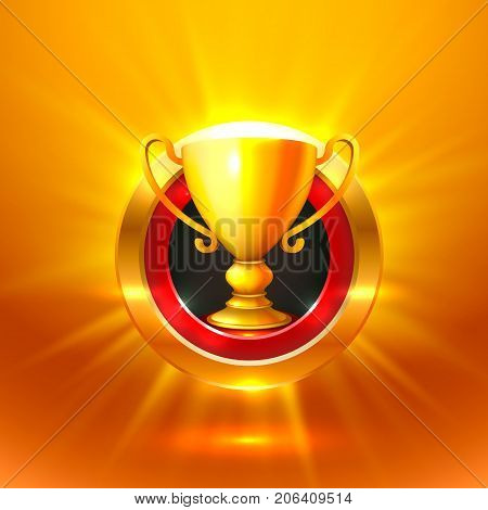 Winner cup gold sign. object on a orange background , Vector illustration
