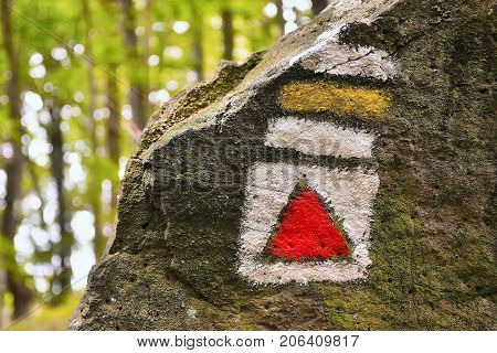 Red And Yellow Tourist Sign On Big Stone On Way To Bucina View At Beginning Of Autumn In West Bohemi