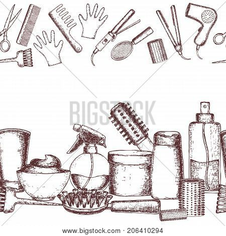 Seamless horizontal borders of sketch equipments for styling and hair care. Products and tools for home remedies of hair care. Vector