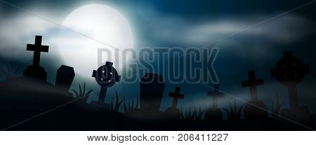 Night cemetery crosses tombstones and graves horizontal banner. Colorful scary Halloween illustration. Vector