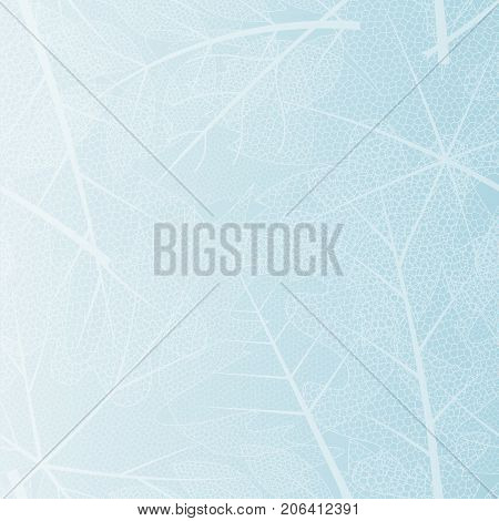 vector seamless background with winter skeleton leaves