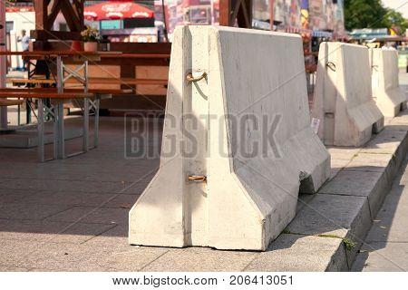 Barriers of  Concrete for counterterrorism at Breitscheidplatz in Berlin