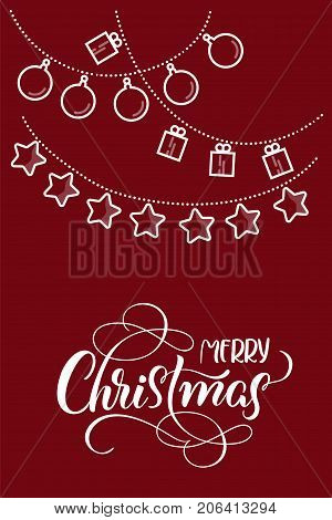 stylized flat Christmas toys on red backgroud and the text of Merry Christmas. Vector illustration EPS10.