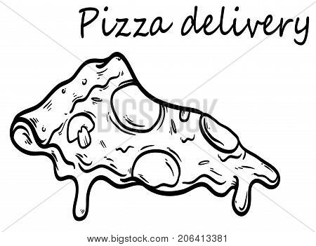 Piece of pizza on isolated white background. The idea for poster delivery of pizza - a piece of delicious juicy pizza with cheese, contour vector, close-up