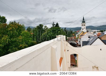 Hight Wall In Foreground And Tower With Ore Mountains On Background When Viewed From New Metal Looko