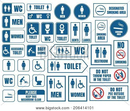 toilet signs, toilet icons set, wc signs