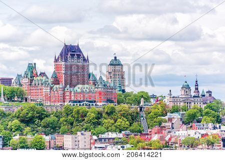 View From Levis City On Cityscape And Skyline Of Quebec City, Canada With Saint Lawrence River And T
