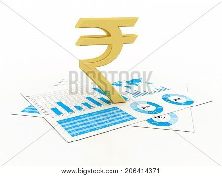 Indian Rupee growth concept. Indian Rupee sign isolated in white background. 3d rendering
