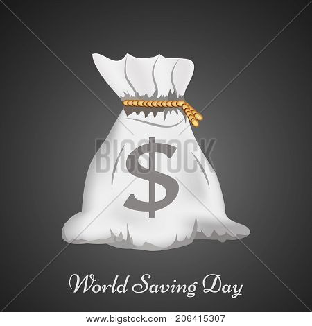illustration of bag with World Savings Day text on the occasion of World Saving Day