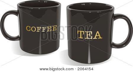 Black Glossy Tea And Coffee Mugs