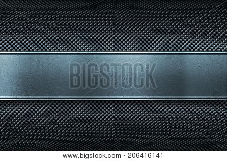 Colored perforated metal plate with polished metal plate banner place for text in center material design for background, graphic design