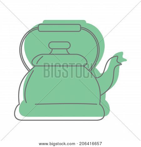 Green Kettle For Tea In Doodle Style Icons Vector Illustration For Design And Web Isolated