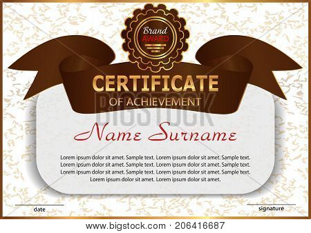 Certificate or diploma. Reward. Elegant design with golden ribbon. Vector illustration.