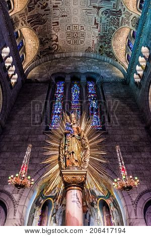 Sainte-anne-de-beaupre, Canada - June 2, 2017: Inside Basilica Of Sainte Anne De Beaupre With Mary A