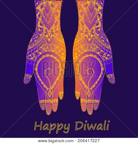 Hands with mihandy art holding Indian oil lamp - diya, Happy Diwali festival. Happy Diwali text