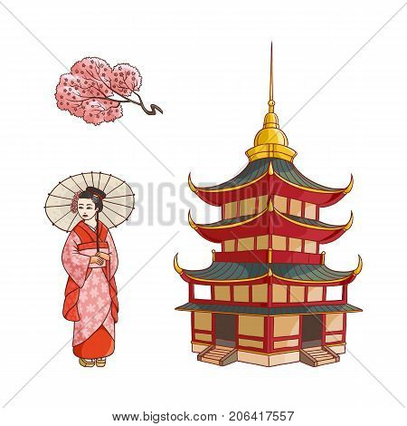 Asian japan china oriental symbols concept set. Blooming sakura branch with flowers, traditional pagoda building, geisha woman with folding fan. Isolated flat vector illustration on a white background