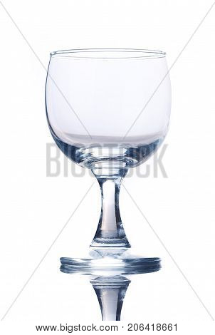 Empty transparent glasses ware composition in studio