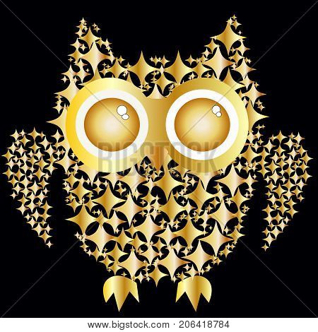 An Owl Consisting Of Gold Plates On A Black Background. The Symbol Of Wealth, Wisdom