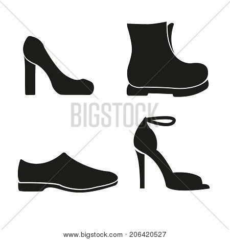 Set of shoes line vector icons. Men shoes and women shoes, footwear linear icons. Vector illustration
