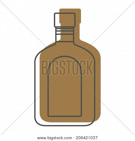 Bottle alcohol tequila in line with color silhouette style icons vector illustration for design and web isolated on white background. Bottle alcohol tequila vector object for labels and logo