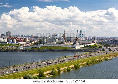 Panorama of the Kazan Kremlin, view from the street of the Decembrists. Kazan, the Republic of Tatarstan, Russia