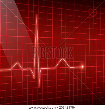 Vector electrocardiogram background. Red line heart rate on the screen in perspective.