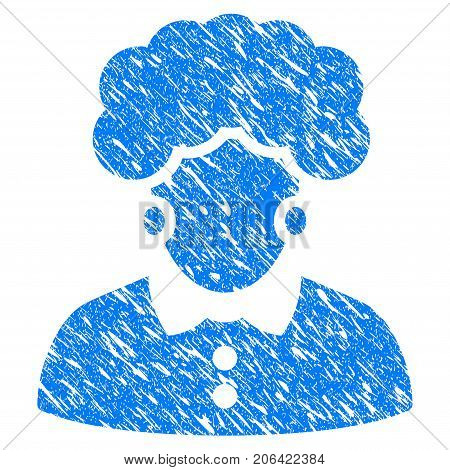 Grunge Brunette Woman icon with grunge design and dust texture. Unclean vector blue Brunette Woman pictogram for rubber seal stamp imitations and watermarks. Draft emblem symbol.