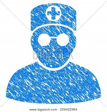 Grunge Doctor icon with grunge design and dirty texture. Unclean vector blue Doctor pictogram for rubber seal stamp imitations and watermarks. Draft sticker symbol.