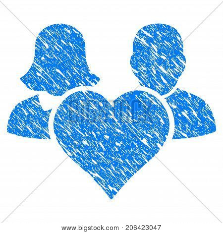 Grunge Family Love Heart icon with grunge design and dust texture. Unclean vector blue Family Love Heart pictogram for rubber seal stamp imitations and watermarks. Draft emblem symbol.