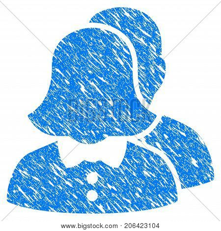 Grunge Family icon with grunge design and scratched texture. Unclean vector blue Family pictogram for rubber seal stamp imitations and watermarks. Draft sign symbol.