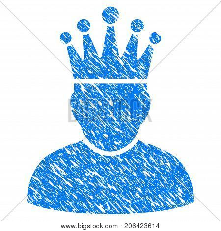Grunge King icon with grunge design and dirty texture. Unclean vector blue King pictogram for rubber seal stamp imitations and watermarks. Draft sign symbol.