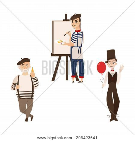 French men, characters - artist, mime and gourmand, symbols of France, flat cartoon vector illustration isolated on white background. Typical, stereotypical French people gourmand, mime and artist