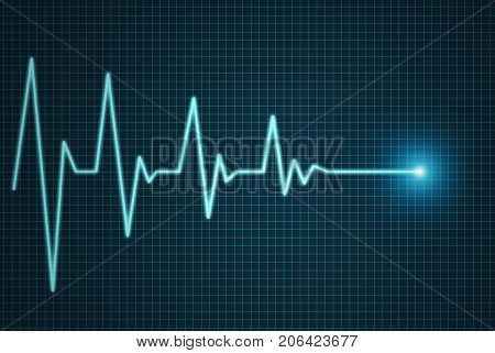 Heart beat line end of life, cardiograph illustration